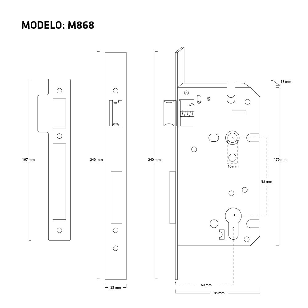 MECANISMO M868 MEDIDAS