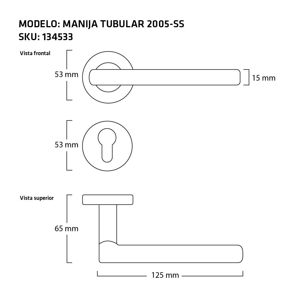 MANIJA TUBULAR 2005 SS MEDIDAS